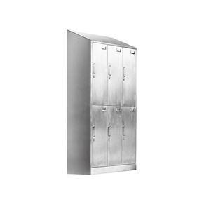 6门斜顶带锁更衣柜